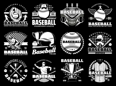 Baseball sport game monochrome icons, sporting items. Vector glove and ball, stadium and player, helmet and bat, trophy cup and uniform. Tournament or championship, cap and arena, laurel branches Stockfoto - 115570833