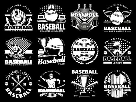 Icônes monochromes de jeu de sport de baseball, articles de sport. Gant et ballon vectoriels, stade et joueur, casque et batte, coupe trophée et uniforme. Tournoi ou championnat, casquette et arène, branches de laurier Vecteurs