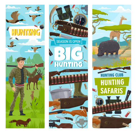 Hunter and ammunition, hunting or safari sport. Vector equipment to hunt and wild animals. Bullets and gun or rifle, knife and compass, binocular and kettle, trap. Rino and deer, rabbit and duck Иллюстрация
