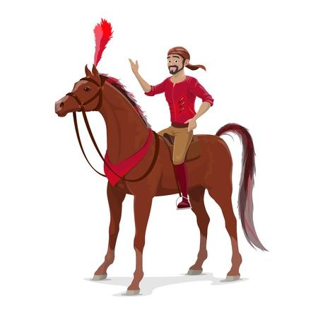 Jinete de circo a caballo entrenado, deporte ecuestre, vector. Hombre barbudo acróbata a caballo, animal decorado con plumas. Artista de circo grande en bandana montado en mustang o semental