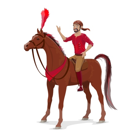 Rider from circus on trained horse, equestrian sport, vector. Acrobat bearded man on horseback, animal decorated by feather. Big top circus entertainer in bandana riding on mustang or stallion