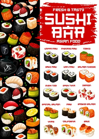 Sushi and rolls, Japanese cuisine. Vector kappa with avocado, tobico or sake with karu maki, salmon cheese or smoked tudi rolls, spicy tuna, dragon and mais, unagi and california, tea and caviar sushi
