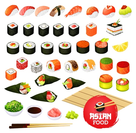 Sushi and rolls types, Japanese cuisine cooking. Vector temaki and sashimi, ikura and kappa or syaki with tekka maki, kappamaki and uramaki. Gunkan and inari sushi with shrimp, salmon or eel nagiri