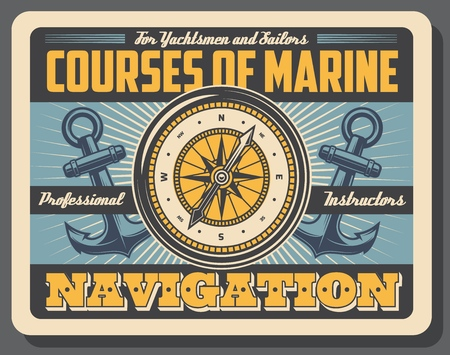 Marine courses, boatmasters school, yachtsmen and sailors, navigation. Vector compass, rose of wind and anchors, nautical symbols. Professional instructors service, direction orientation in sea