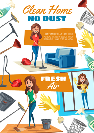 Cleaning house and washing windows service, housekeeper or maid. Vector woman with vacuum cleaner and sprayer, mop and brush. Plunger and basket, glove and bucket of water, household chores and items
