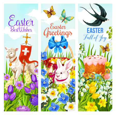 Easter Spring Holiday greeting banner with Easter egg and rabbit on flower field. Easter basket with egg, bunny, lamb and cross, daffodil, tulip and crocus flower, butterfly, ribbon and swallow bird