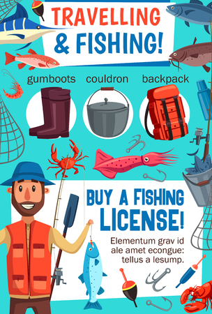 Traveling and sea fishing, fisherman, fish and tackles equipment. Vector rod and hook, bait and net, gumboots and cauldron. Backpack and pike and catfish, squid and crab, crayfish and salmon Illustration