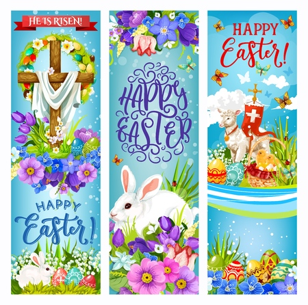Easter eggs, bunnies, cross and chicks, christian religion spring holiday vector banners. White rabbits, painted egg basket and floral wreath of green grass and daffodil, lamb of God and butterflies Illustration