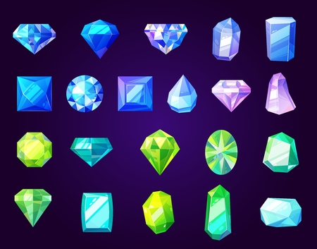 Gemstones icons, cut gems and crystals of round, square or diamond shape. Vector jewelry, rhinestone and brilliant, sapphire and amethyst. Luxury precious stones, rings and necklaces details