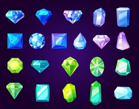 Icone di pietre preziose, gemme tagliate e cristalli di forma rotonda, quadrata o a diamante. Gioielli vettoriali, strass e brillanti, zaffiri e ametiste. Dettagli di pietre preziose, anelli e collane di lusso Vettoriali