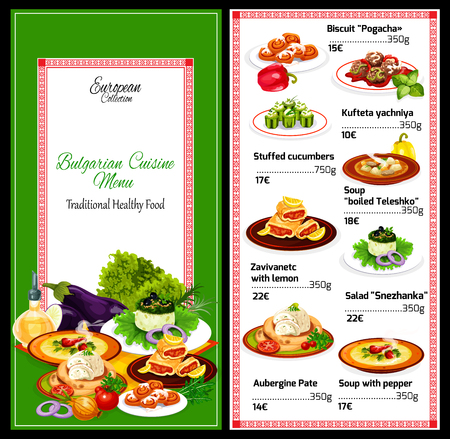 Cuisine of Bulgaria, vector restaurant menu with soups and salads. Biscuit and kufteta yachniya, stuffed cucumbers and pepper soup. Zavivanetc with lemon and salad, aubergine pate