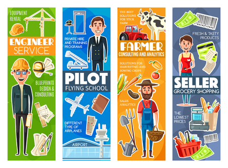 Engineer and pilot, farmer and seller professions. Vector builder with building crane, aviator and airplane, gardener on farm with vegetables, seller and cash counter. Job occupations and works
