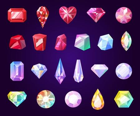 Edelstein-Schmuck-Symbole. Diamant und Brillant, Amethyst, Quarz, Granat und Smaragd, Aquamarin und Saphir. Rubin und Türkis, Perlmutt. Isolierte vektorfacettierte Felsen und Edelsteine
