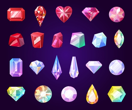 Gemstones jewelry icons. Diamond and brilliant, amethyst, quartz, garnet and emerald, aquamarine and sapphire. Ruby and turquoise, pearl gem. Isolated vector faceted rocks and precious stones Ilustração