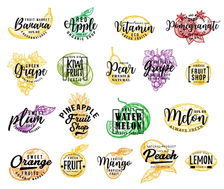 Fruit isolated icons, lettering. Vector banana and red apple, lemon and pomegranate, grape and kiwi, pear and plum. Pineapple and watermelon, melon and orange, mango and peach Vector Illustratie