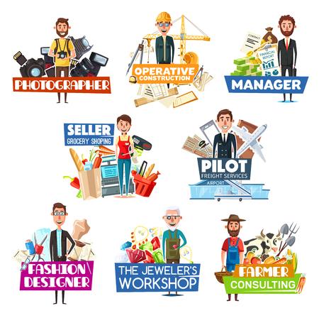 Iconos de búsqueda de empleo y contratación de personal con profesiones. Fotógrafo de vectores con cámara e ingeniero, gerente y vendedor, piloto con avión y diseñador de moda, joyero con gemas y granjero con vaca