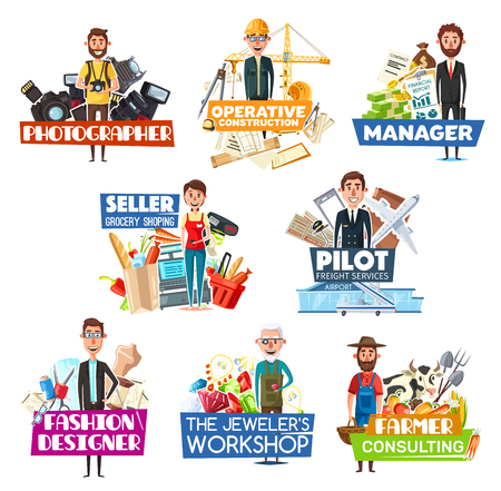 Job search and staff hiring icons with professions. Vector photographer with camera and engineer, manager and seller, pilot with airplane and fashion designer, jeweler with gems and farmer with cow