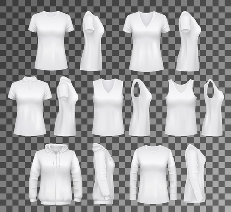 T-shirt templates with hoodie and sweatshirt, polo and singlet or sleeveless shirt. Isolated vector female clothes white mockups, casual garments design. Everyday women outfit elements on transparent Vettoriali