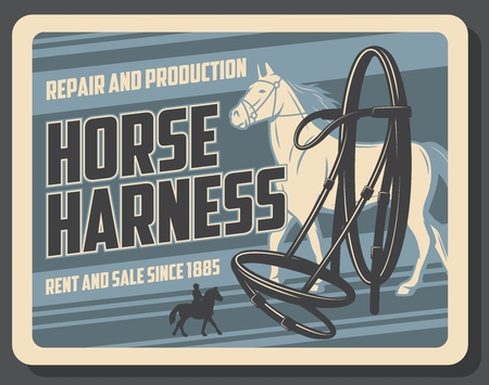 Horserace equipment, horse sport shop, animal. Vector harness, mustang or stallion, rent and sale, repair and production. Racecourse and race tournament or championship, jockey on horseback silhouette