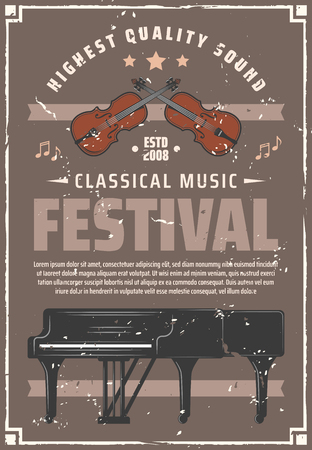 Musical festival retro poster with musical instruments to perform classic concert. Piano and violin for performance on art event vintage invitation. Symphony and melodies of high quality sound vector Illustration