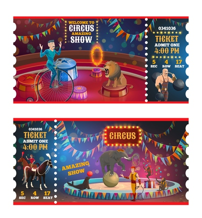 Circus tickets to magic show of animal tamers, strongman and equilibrist. Vector retro big top circus performance admit cartoon tickets of elephant on ball, horse riders and acrobat on unicycle Vectores