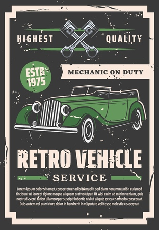 Car repair service, auto spare parts shop or garage station. Vector old vintage cabriolet and piston, vehicle maintenance and restoration. Transport repairing, renovation and restoration works
