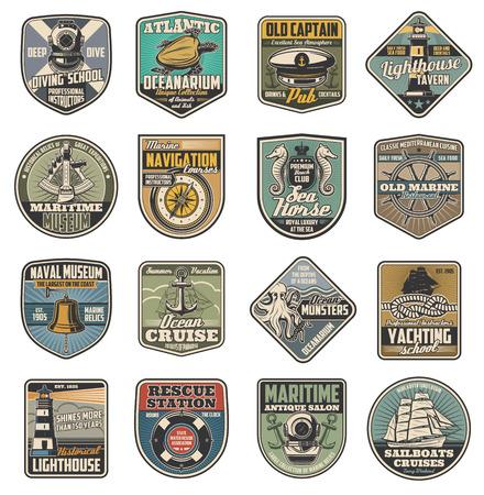 Morskie wektorowe ikony, klub morski i szkoły marynarzy vintage heraldyka. Kask nurkowy i żółw, pub lub tawerna i latarnia morska, rejs statkiem kompasowym i oceanicznym, konik morski i koło, dzwon i kotwica