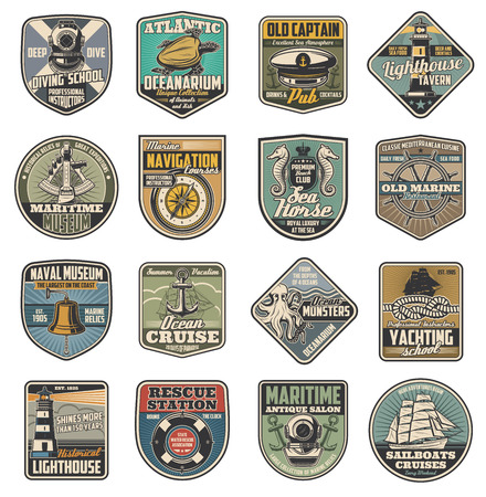 Nautical vector icons, marine club and sailor schools vintage heraldry. Diving helmet and turtle, pub or tavern and lighthouse, compass and ocean ship cruise, seahorse and wheel, bell and anchor