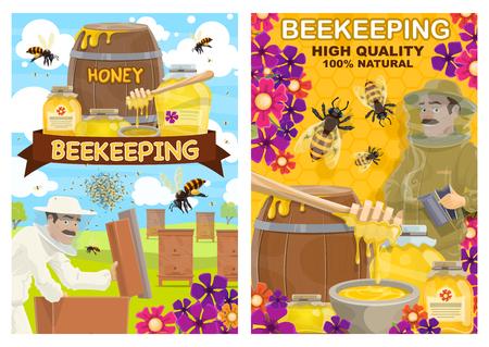 Apicultor con panal en colmena en colmenar, vector. Apicultor bigotudo con traje protector blanco y sombrero con miel en frascos y barriles, granja de apicultura de abejas y apicultura o agricultura Ilustración de vector