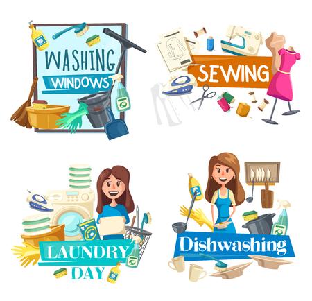 Putzen, Geschirrspülen und Fenster putzen, Nähen und Wäscheservice. Vektorsprüher und -bürste, Nähmaschine und Bügeleisen, Waschmaschine und Leinen, schmutzige Teller und Kochtopf. Hausarbeit und Hausfrau