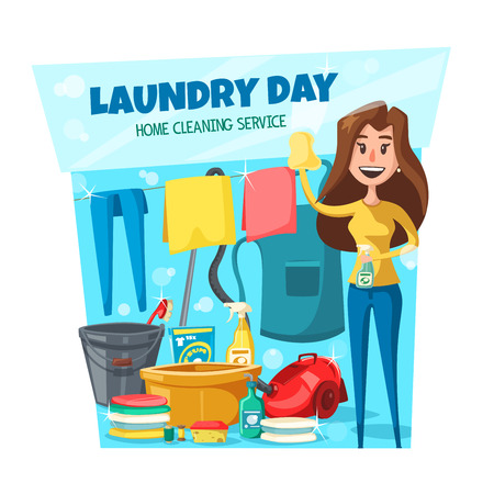 Laundry day, housewife or maid holding cloth and sprayer. Vector cleaning service, clean clothes and chemical means. Household chores and homework, basin and vacuum cleaner, bucket and brush
