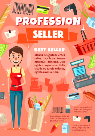Vacancy of seller in supermarket or shop staff hiring. Saleswoman in uniform with scanner and paper bag of food. Basket and cash counter, credit card and barcode, receipt and money bills vector Illustration