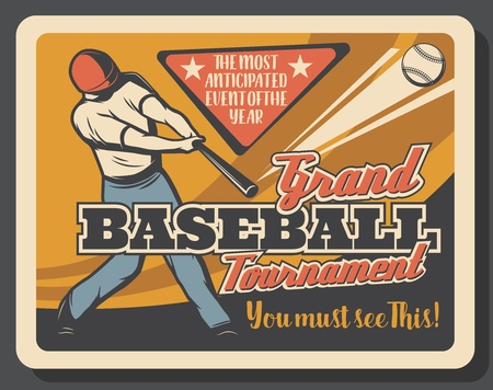 Batter on baseball sport match, invitation. Retro vector bat and ball, helmet and uniform, player making hit. Sporting items, tournament or championship professional league of sportsman, championship