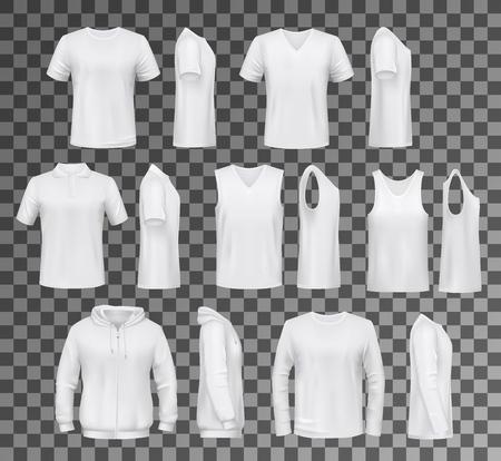Modelli di t-shirt, felpa con cappuccio e felpa, polo e canottiera o maglietta senza maniche. Mockup di vestiti maschili vettoriali bianchi, design di indumenti casual. Abiti da uomo di tutti i giorni o abiti isolati su trasparente Vettoriali