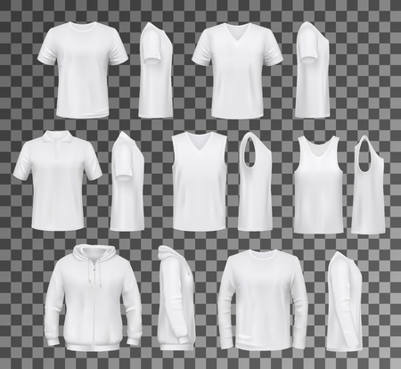 T-shirt templates, hoodie and sweatshirt, polo and singlet or sleeveless shirt. Vector male clothes white mockups, casual garments design. Everyday mens outfits or apparels isolated on transparent Ilustracja
