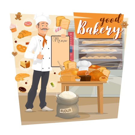 Baker with menu and pastry food at bakery shop. Vector bread and baguette, cake and roll with jam, toast and donut. Croissant and waffles, gingerbread cookie and cupcake, sack of flour, bread on table Banque d'images - 126049623