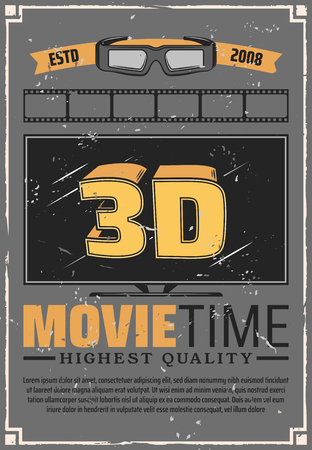 Cinema theater, movie time, TV set large screen and 3D effect glasses. Vector motion picture projection festival. Film night, media entertainment and cinematography industry, action or comedy, drama