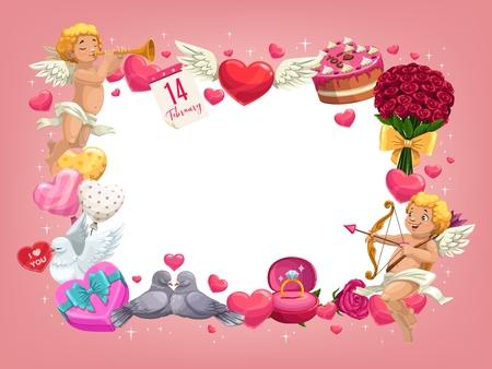 Cadre de la Saint-Valentin avec des cadeaux romantiques vecteur carte de voeux de mariage et de vacances de conception d'amour. Coeurs rouges, ballons et fleurs roses, chocolat, Cupidons et bordure de bague en diamant avec espace de copie