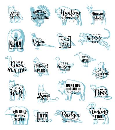 Animaux ou oiseaux, icônes de chasse avec lettrage. La gélinotte et la bécasse vectorielles, le faisan et la caille, la perdrix et le blaireau, le guépard et le loup, la gazelle et le renard, la zibeline et le vison, l'ours et le renard ou le lynx, la faune Vecteurs