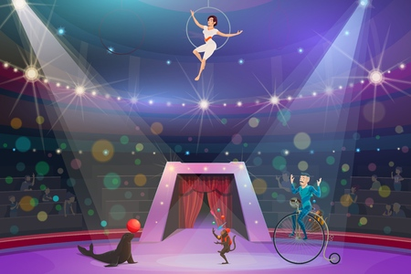 Big top circus show, performers and animals. Vector monkey juggler and female air gymnast in hoop, trickster on unicycle and seal with ball on arena. Spectators watching performance on round stage Illustration