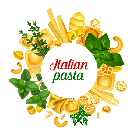 Pasta of Italy and seasonings icon. Vector fettucine and detalini, bucatine and rotelle, tortelloni and maccheroni, ravioli and tortellini, risoni and fagottini. Conchiglie, arugula and basil, thyme