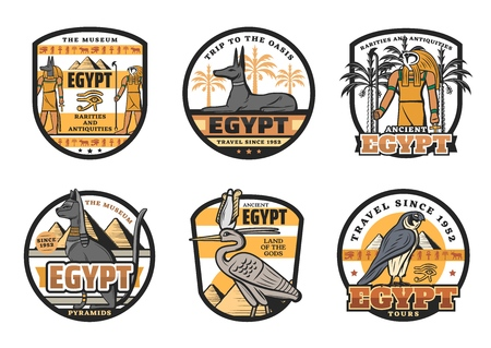 Travel to Egypt icons, Egyptian gods and country sights. Isolated vector Ra and Anubis, dog and cat, falcon and stork. Great pyramids on ancient museum of rarities and antiquities symbols