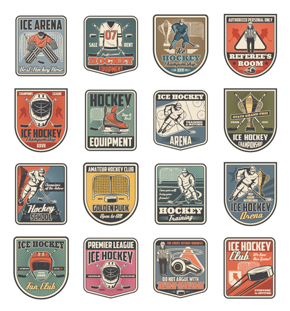 Ice hockey sport icons with players in uniform and sporting items. Isolated vector ice rink and puck, stick and trophy cup, whistle and helmet, gate and referee. Team game on skates club or school