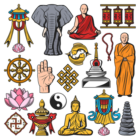 Buddhism religion, vector Buddha and lotus flower, monk and meditation pose, vitarka sign . Pebble pile and spinning drums, mortar and yin yang, gold fishes, mandala