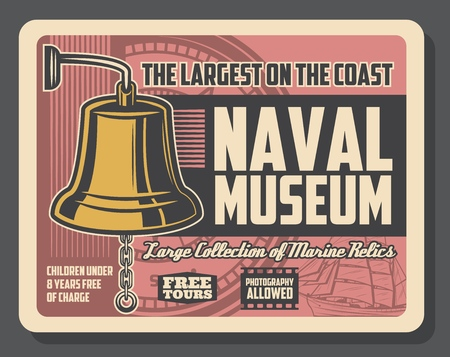 Gold deck bell retro vector poster, naval museum with marine relics. History of vessels evolution and sea adventure and historical events in world waters. Compass and ship silhouettes
