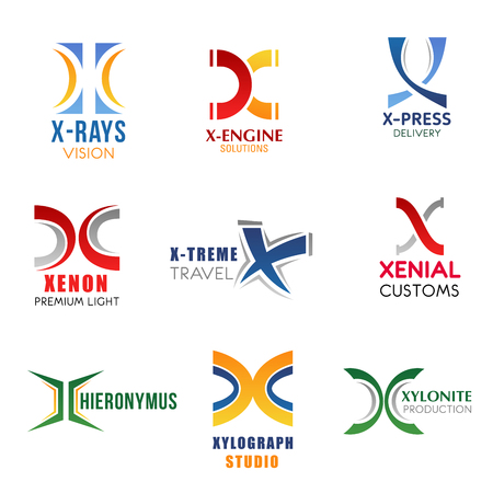 Corporate identity letter X business icons. Medicine and transport repairing, delivery or shipping and electricity, traveling and customs, studio and production. Vector emblems, signs and symbols