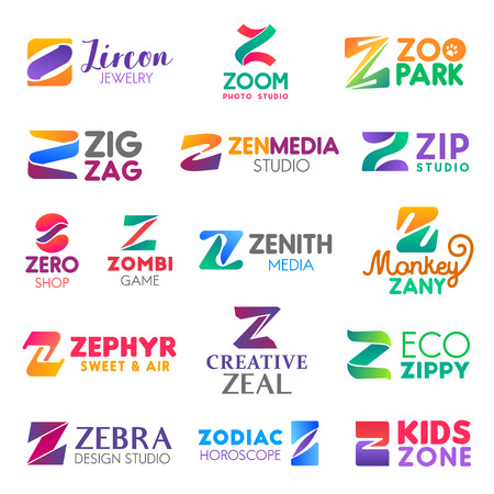 Corporate identity letter Z business icons. Vector jewelry and photography, zoology and media, studio services and shopping. Games and confectionery, ecology and design, astrology and entertainment Illustration