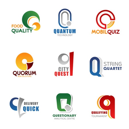 Corporate identity letter Q business icons. Food and technology, mobile services, city entertainment and delivery agency. Vector hobby competitions, tournaments, analytic and sport signs and symbols