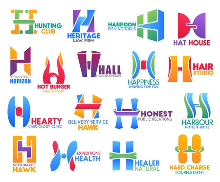 Corporate identity letter H business icons. Vector hunting and law, hobby, fashion and planing, shopping, beauty and medicine. Delivery and recreation, stock and health, nature and tournament
