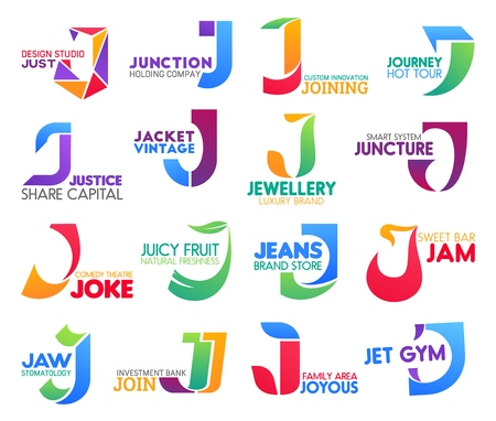 Corporate identity letter J business icons. Vector design and holding, technology and travel, law and fashion. Jewelry and entertainment, food and fashion, drink and medicine, banking and sport Illustration